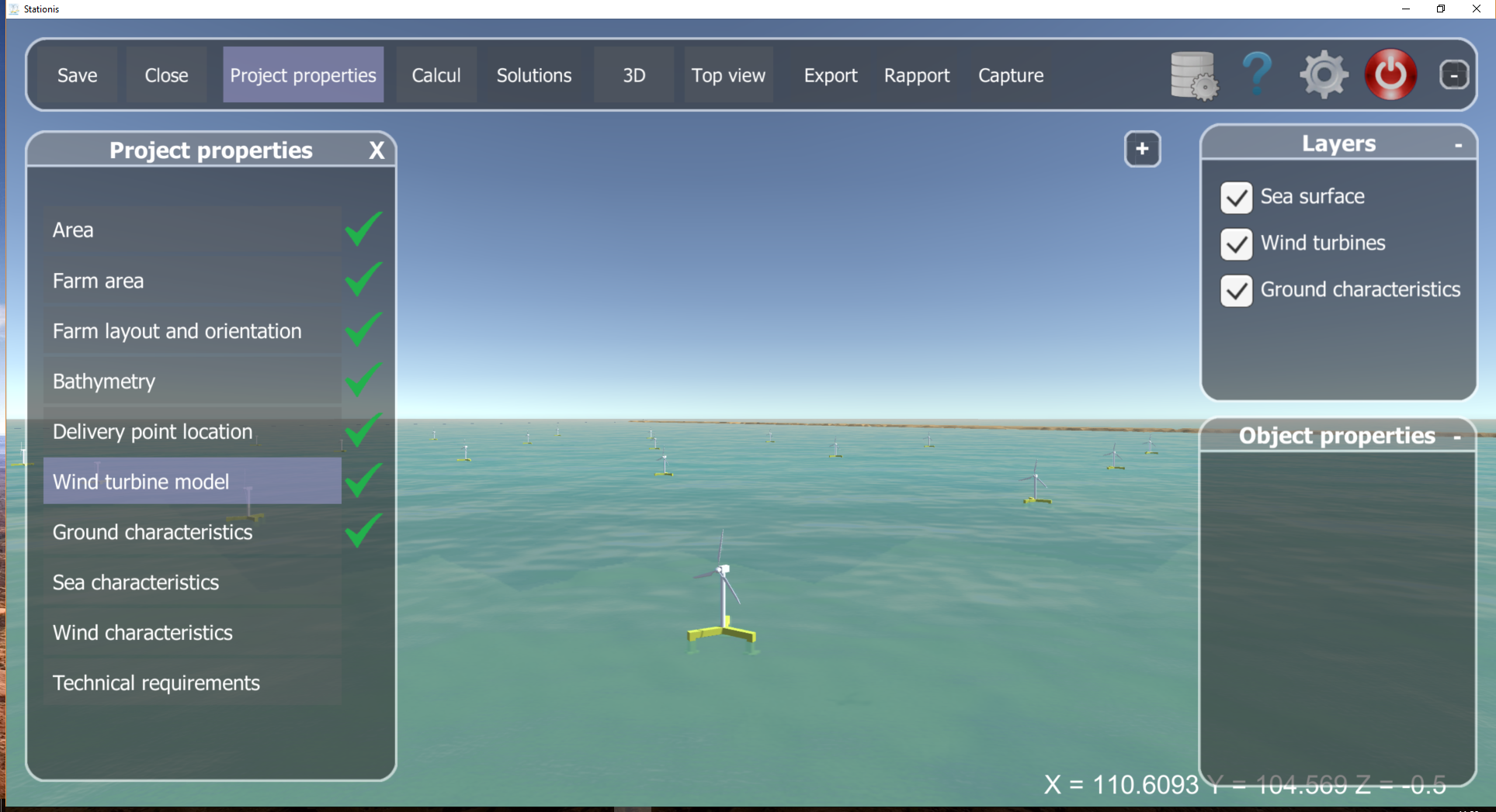 ABYSS CAD- Stationis, software for optimization of floating windturbines farm